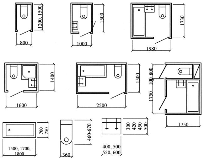 Планировочные схемы санузлов и размеры санитарного оборудования