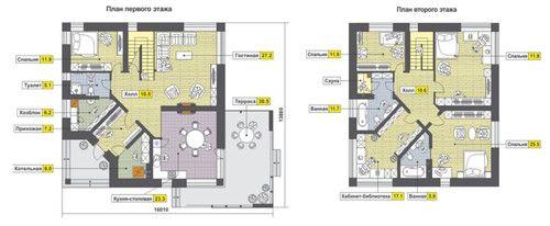 Жилой дом из поризованного кирпича. планы этажей